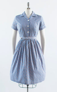Vintage 1950s Dress | 50s Geometric Polka Dot Cotton Shirt Dress Blue Pink Shirtwaist Day Dress (medium)