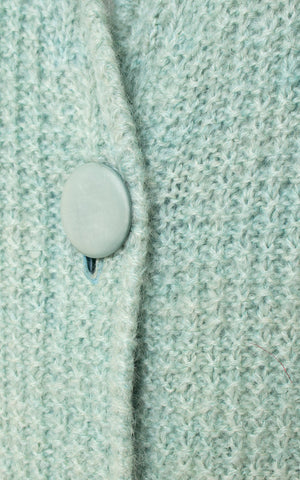 1960s Mint Blue Knit Sweater Coat