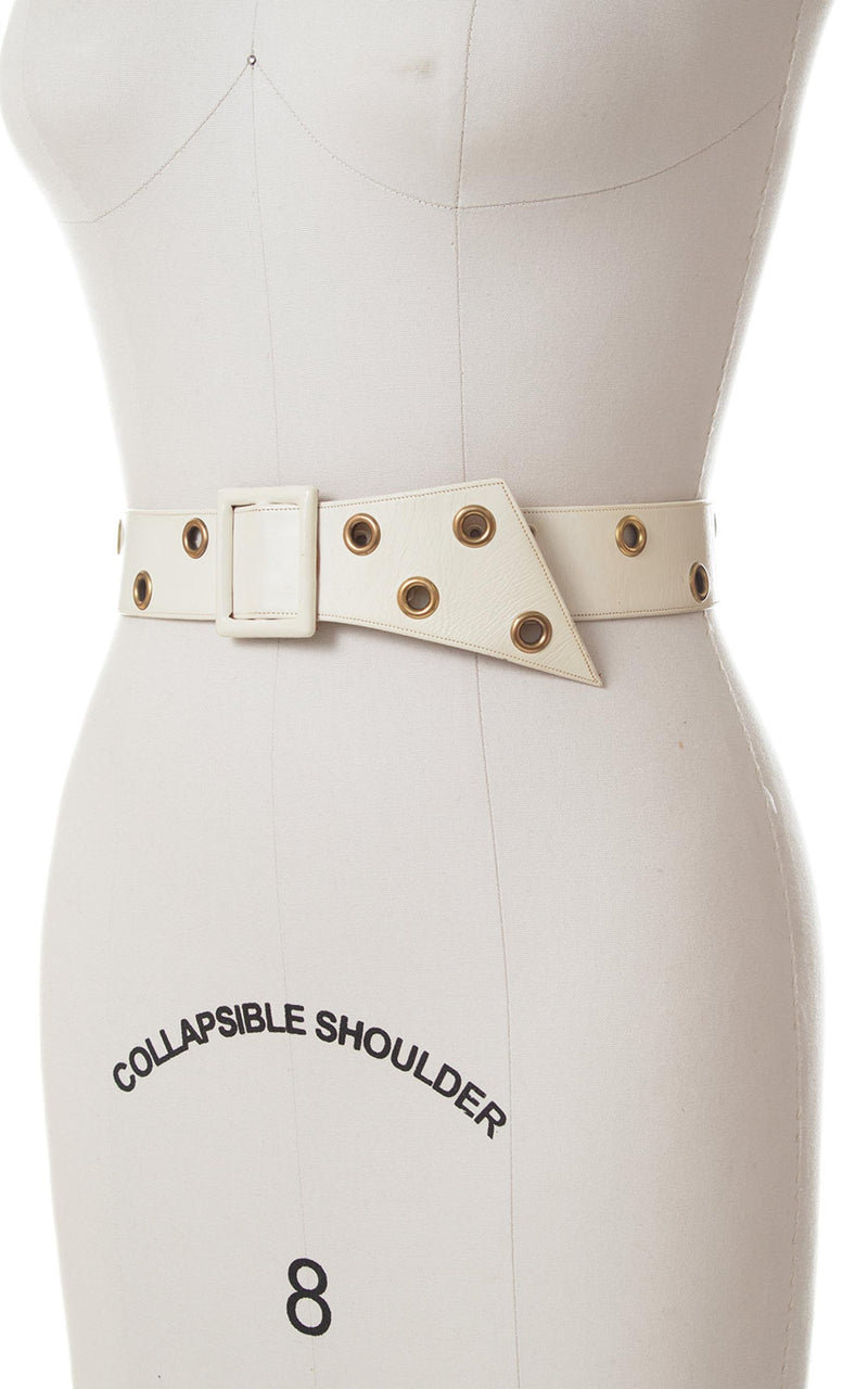 1950s White Leather Cinch Belt with Grommets | xs/small