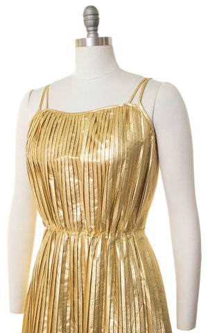 1970s Gold Lamé Pleated Party Dress | small