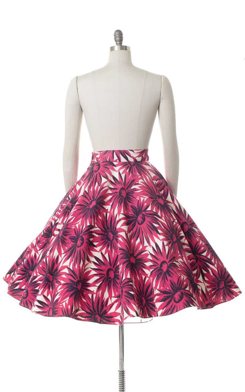 1940s Pink Floral Cotton Piqué Circle Skirt | small