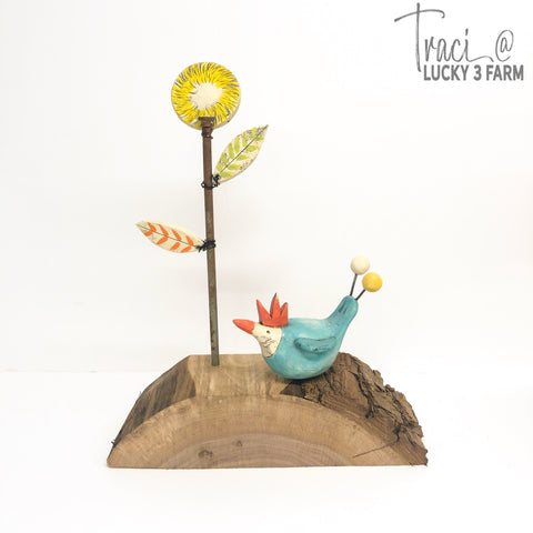 Chicken with Tall Flower Assemblage Sculpture