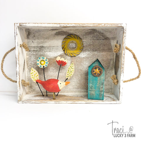 Red Bird Assemblage Sculpture Box