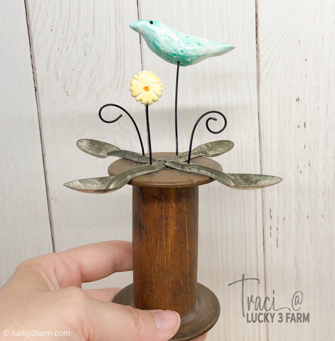 Bird on a Spool Assemblage Sculpture