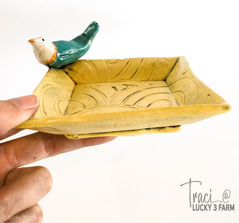 Ceramic Trinket Dish (Yellow with Blue Bird)
