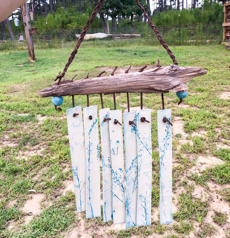 Wind Chime - Blue Wildflower on Cedar Driftwood