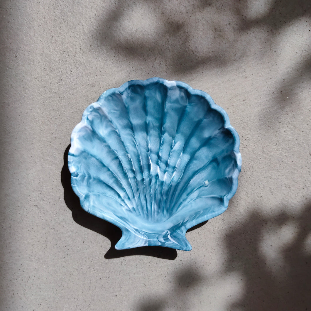 Scallop Shell Dish in Ocean Tie Dye