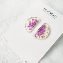 Load image into Gallery viewer, Semi Circle Floral Studs (Purple)
