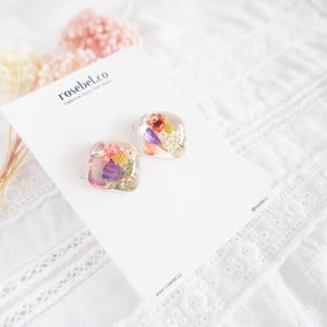 Floral Crystal Cube Studs