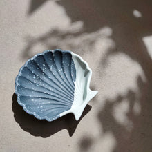 Load image into Gallery viewer, Scallop Shell Dish in Half/Half Blue Terrazzo