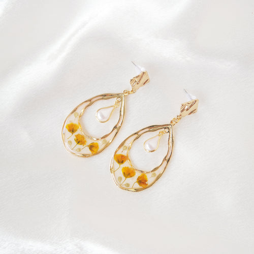 Yellow Buds Teardrop Earrings