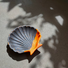 Load image into Gallery viewer, Scallop Shell Dish in Half/Half Orange Terrazzo