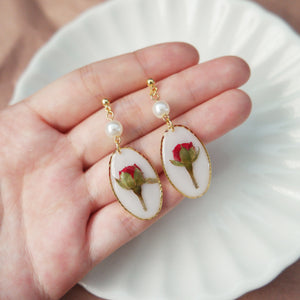 Roses and Pearls Oval Earrings