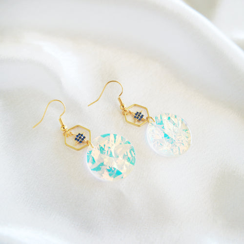 Cowrie Shell Square Earrings