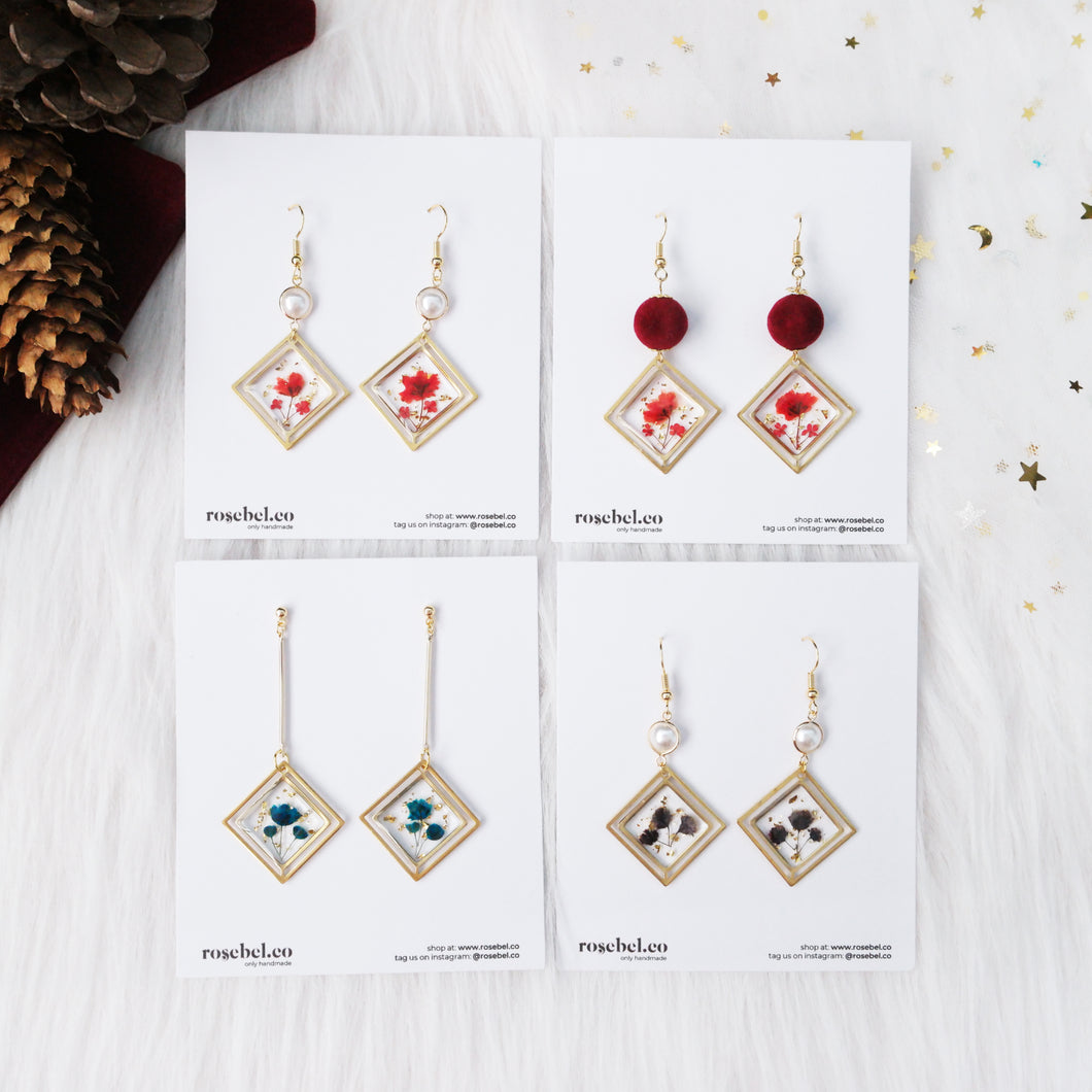 (Preorders only) Duo Square Frame Floral Earrings