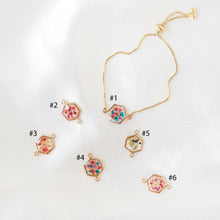 Load image into Gallery viewer, Instock Flora-filled Adjustable Bracelet (Hex)