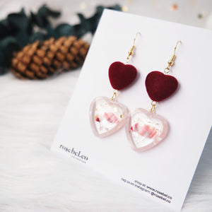 Duo Hearts Frame Earrings