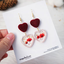 Load image into Gallery viewer, Duo Hearts Frame Earrings