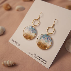 Circle + Hex Seaside Earrings