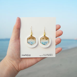Hex Abalone Shell Seaside Earrings