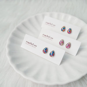 (CUSTOMIZABLE) Flora-filled Droplet Mini Studs