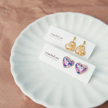 Load image into Gallery viewer, Flora-filled Heart Mini Studs/Dangles