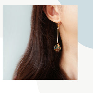 Flora-filled Revolver Drop Earrings