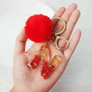 Red Coral X Gold Gemstone Keychain