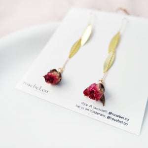 Preserved Rose Hanging Gold Earrings