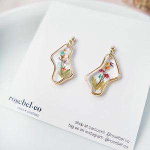 Blooming Flowers Squiggle Gold Earrings (3 designs)