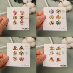 Flora-filled Heart Mini Studs/Dangles