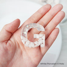 Load image into Gallery viewer, White Porcelain X Gold or White Porcelain X Holo Gemstone Keychain