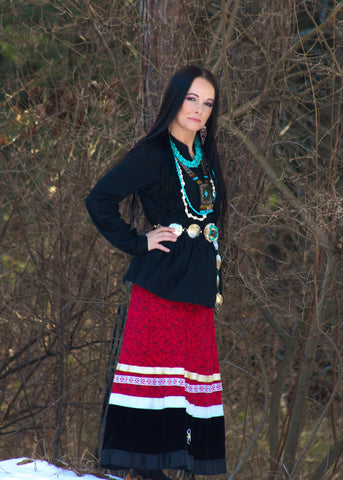 Ayasha Loya in Traditional Anishinaabe Clothing