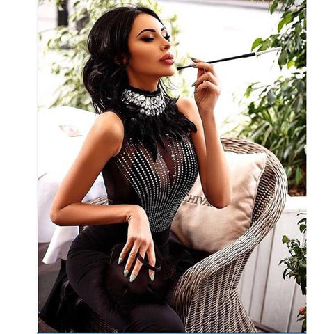 Black Feather Rhinestone Evening Runway Dress