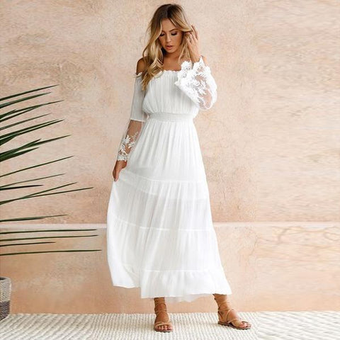 Chiffon Lace Off the Shoulder Maxi Dress