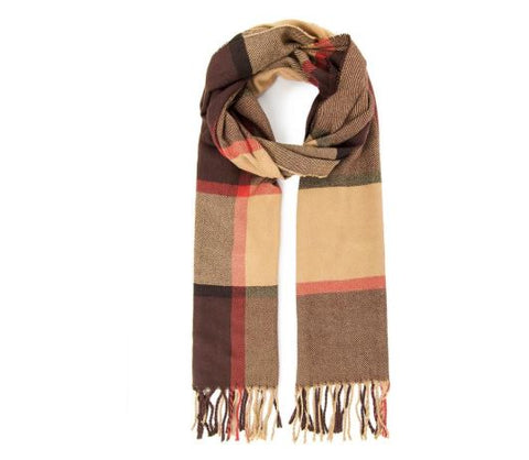 Fashion Ayasha Cashmere Scarf - brown and beige
