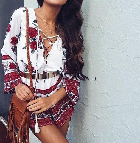 Red Floral Women's Romper