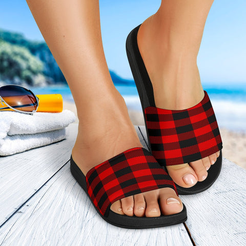 Red and Black Check Plaid Slide Sandals