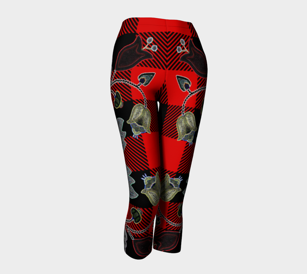 Red and Black Buffalo Check Plaid Floral Motif Capris
