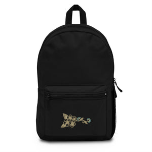 Fashion Ayasha Black Tan and Turquoise Logo Backpack