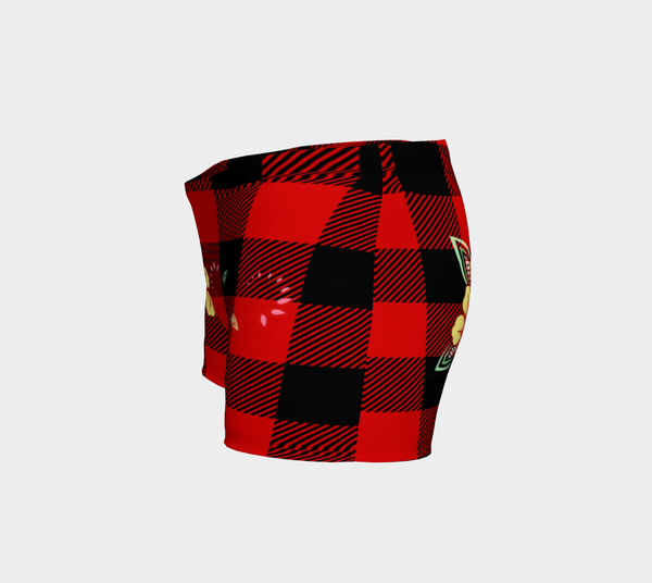 Red and Black Tartan Buffalo Check Plaid Vintage Yellow Flowers Rustic Body Shorts