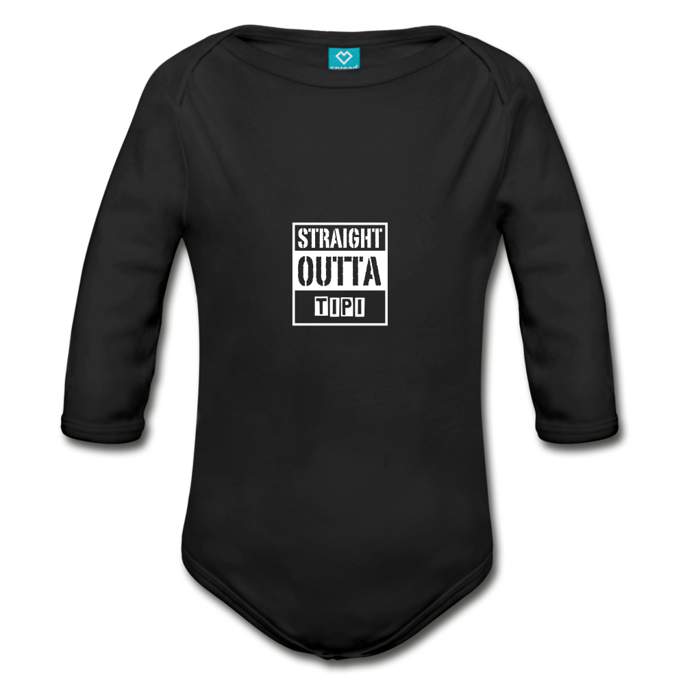 Straight Outta Tipi Organic Long Sleeve Baby Bodysuit - black