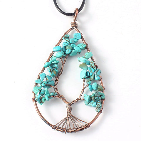 Turquoise Water is Life Tree Copper Necklace