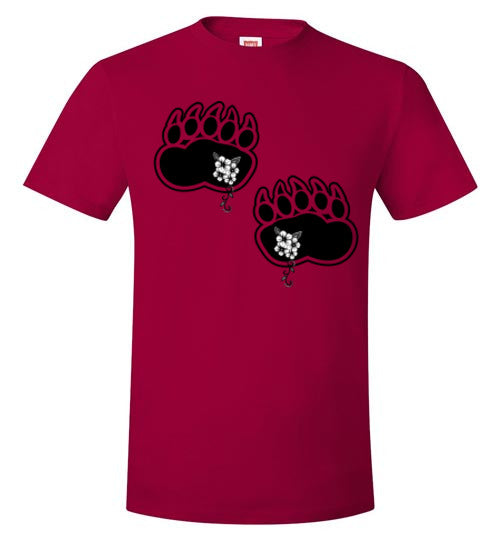 Spring Black Bear Paws Indigenous Flowers T-Shirt