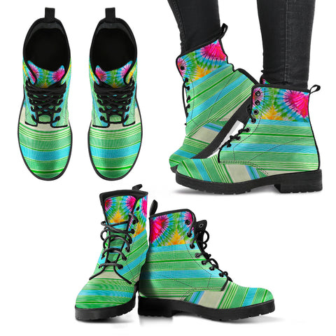 Tie-Dye Hearts and Stripes Women's Leather Boots