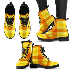 Yellow Buffalo Check Plaid Women's Leather Boots