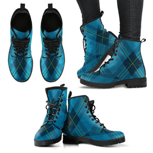 Blue Tartan Plaid Women's Leather Boots