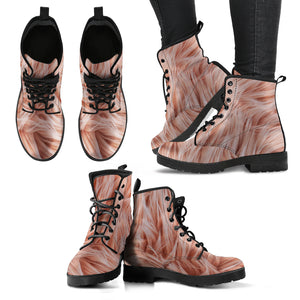 Pink Fur Women's Leather Boots