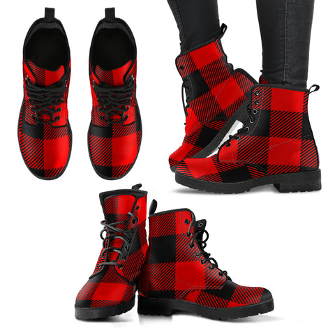 Red and Black Buffalo Check Plaid Women's Leather Boots
