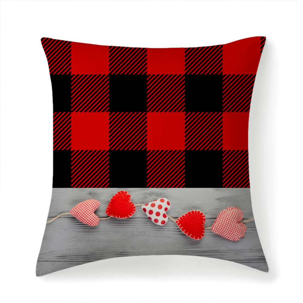 Red and Black Plaid Hearts Garland Multi-sized Throw Square Pillow Covers High Elastic Polypropylene Cotton Insert